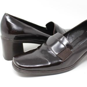 SESTO MEUCCI Brown Heel Penny Loafers Shoes